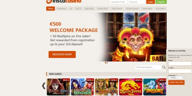 Insta Casino $£€500 Welcome Package T&C